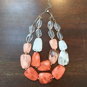 Coral and White Statement Necklace